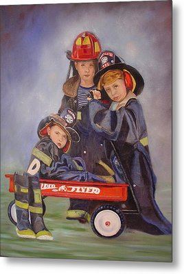 Metal Print featuring the painting Radio Flyer by Sharon Schultz