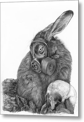 Metal Print featuring the drawing Radioactive Black And White by Penny Collins