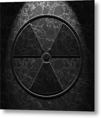 Metal Print featuring the digital art Radioactive Symbol Black Marble Texture by Brian Carson
