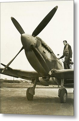 Raf Pilot With Spitfire Plane Metal Print