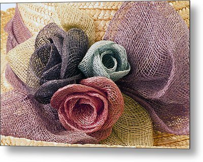 Metal Print featuring the photograph Raffia Roses Macro by Sandra Foster