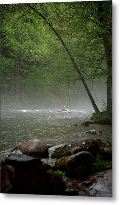 Rafting Misty River Metal Print