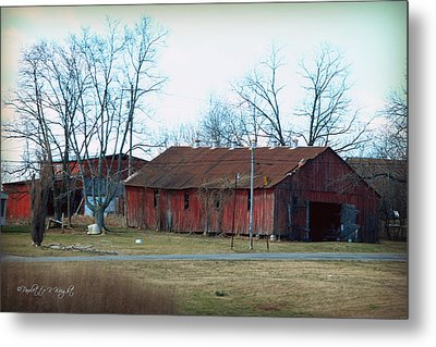 Ragged Red Shed I Metal Print by Paulette B Wright