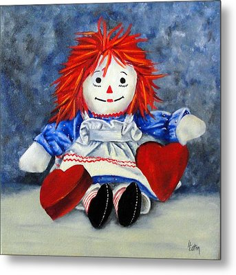 Raggedy Ann With Hearts Metal Print by Helen Eaton