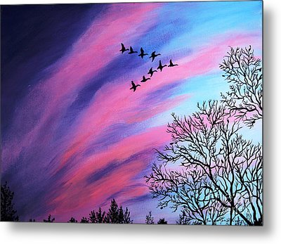 Raging Sky And Canada Geese Metal Print