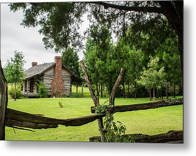 Rail Fence And Cabin Metal Print