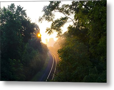 Rail Road Sunrise Metal Print by Bill Cannon