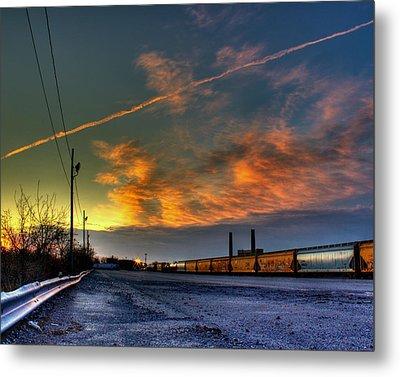 Railroad At Dawn Metal Print