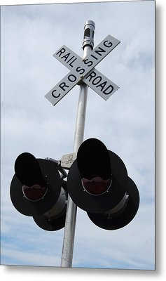 Metal Print featuring the photograph Railroad Crossing by Ramona Whiteaker