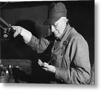 Railroad Engineer Checks Watch Metal Print by Underwood Archives