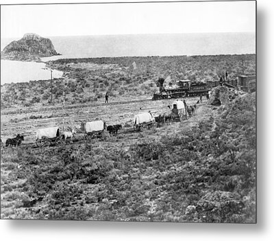 Railroad Meets Wagon Train Metal Print by Underwood Archives