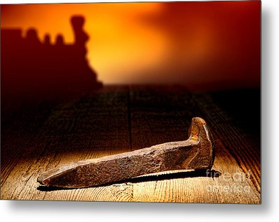 Railroad Spike Metal Print by Olivier Le Queinec