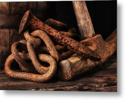 Railroad Spike Still Life Metal Print