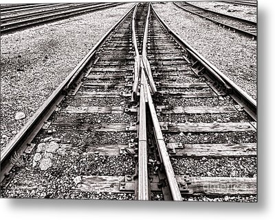 Railroad Tracks Metal Print by Olivier Le Queinec