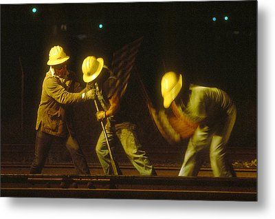 Metal Print featuring the photograph Railroad Workers by Mark Greenberg