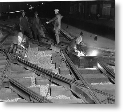 Railroad Workers Welding Track Metal Print by Underwood Archives