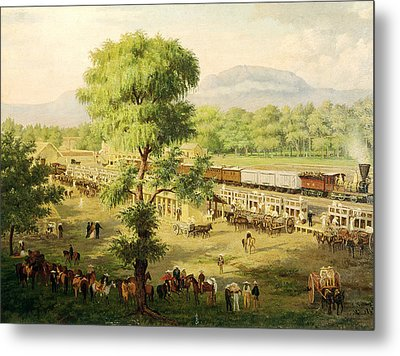 Railway In The Valley Of Mexico, 1869 Oil On Canvas Metal Print by Luiz Coto