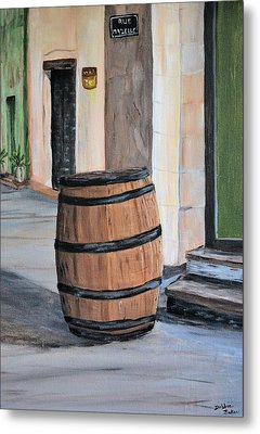 Metal Print featuring the painting Rain Barrel by Debbie Baker