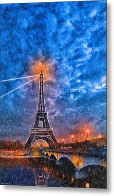 Rain Falling On The Eiffel Tower At Night In Paris Metal Print by Mark E Tisdale