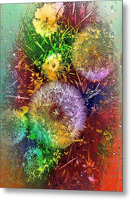 Metal Print featuring the pyrography Rain Flowers by Nico Bielow