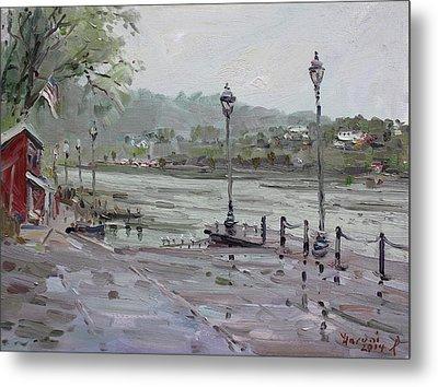 Rain In Lewiston Waterfront Metal Print by Ylli Haruni
