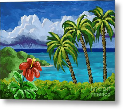 Metal Print featuring the painting Rain In The Islands by Tim Gilliland