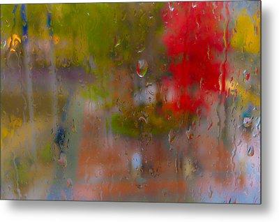 Rain On Glass Metal Print by Susan Stone