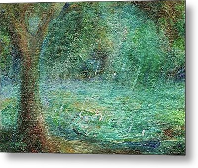Metal Print featuring the painting Rain On The Pond by Mary Wolf