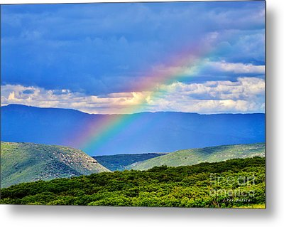 Rainbow Above The Canyon Metal Print by Janice Rae Pariza