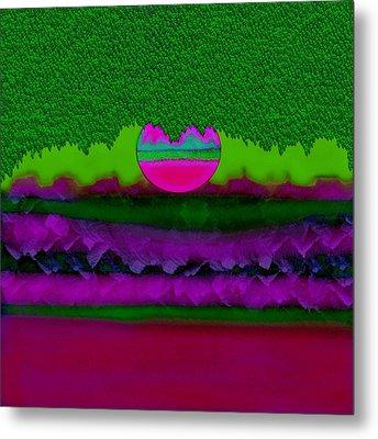 Rainbow And Fantasy Moon Landscape Metal Print