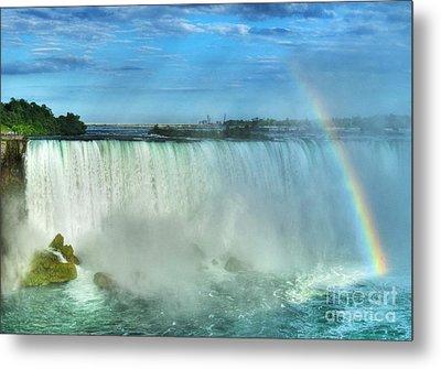 Rainbow At Niagara Metal Print by Mel Steinhauer
