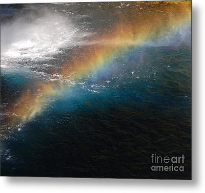 Metal Print featuring the photograph Rainbow At Waterfall Base by Debra Thompson