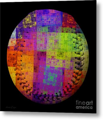 Rainbow Bliss Baseball Square Metal Print by Andee Design