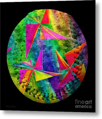 Rainbow Bliss Pinwheels Baseball Square Metal Print by Andee Design