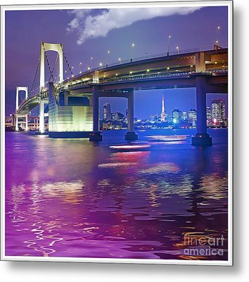 Rainbow Bridge At Night Metal Print by Stefano Senise