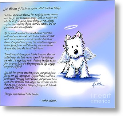 Rainbow Bridge Poem With Westie Metal Print
