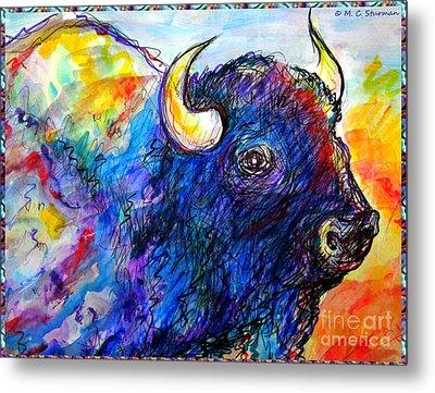 Rainbow Buffalo Metal Print by M C Sturman