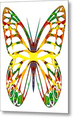 Rainbow Butterfly Abstract Nature Artwork Metal Print by Omaste Witkowski