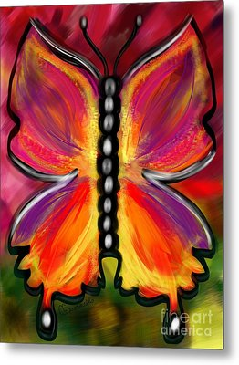 Rainbow Butterfly Metal Print by Christine Fournier