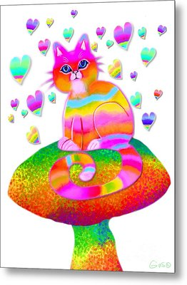 Rainbow Cat Hearts And Mushrooms Metal Print by Nick Gustafson