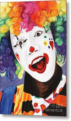 Rainbow Clown Metal Print by Patty Vicknair