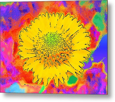 Metal Print featuring the painting Rainbow Colored Sunshine Flower- Because I'm Happy by David Mckinney