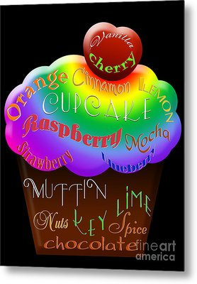 Rainbow Cupcake Typography Metal Print by Andee Design