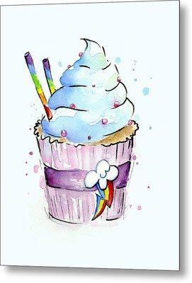 Rainbow-dash-themed Cupcake Metal Print by Olga Shvartsur
