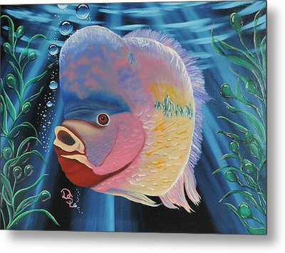 Metal Print featuring the painting Rainbow Devil Fish by Dianna Lewis