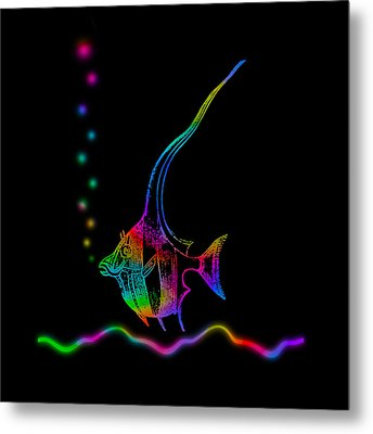 Metal Print featuring the digital art Rainbow Fish - Chaetodon Besantii by David Blank