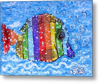 Rainbow Fish Metal Print by Kathy Marrs Chandler