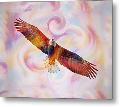 Rainbow Flying Eagle Watercolor Painting Metal Print