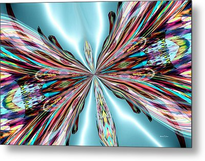 Rainbow Glass Butterfly On Blue Satin Metal Print by Maria Urso