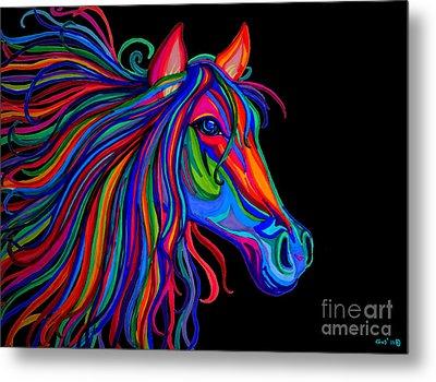 Rainbow Horse Head Metal Print by Nick Gustafson